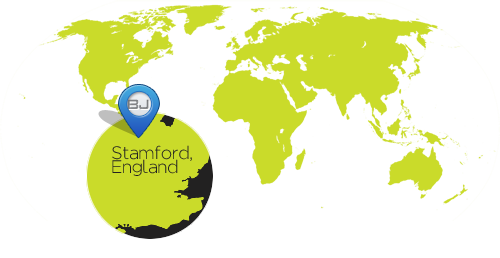 Map of the Uk and BJ Creative Location in Stamford